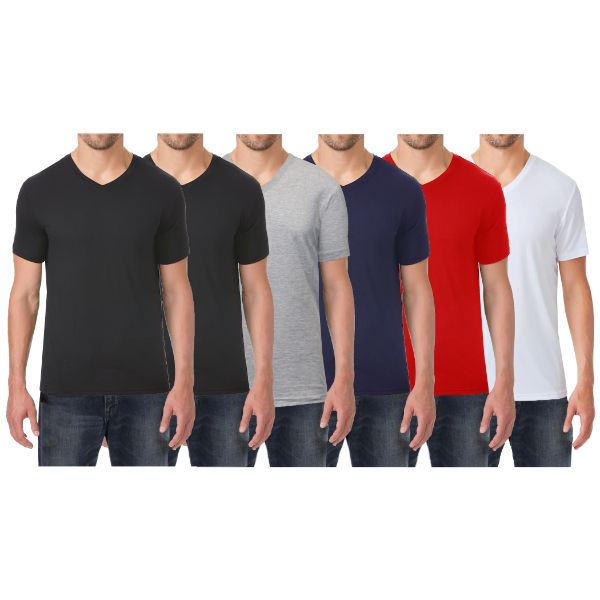 Men's Extra Soft Stretch Technology Premium Quality V-Neck Tees - 6 Pack-Black - Black - Heather Grey - Navy - Red - White-Small-Daily Steals