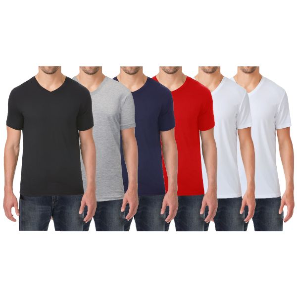 Men's Extra Soft Stretch Technology Premium Quality V-Neck Tees - 6 Pack-Black - Heather Grey - Navy - Red - White - White-Small-Daily Steals