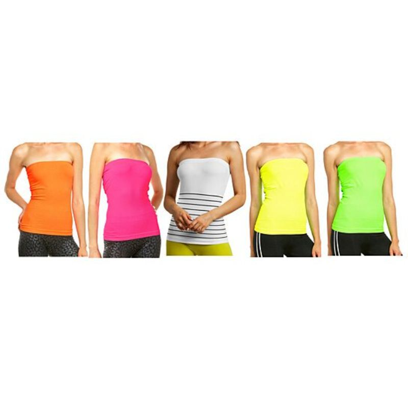 Women's Seamless Long Length Bandeau Bra Tube Tops - 5 Pack