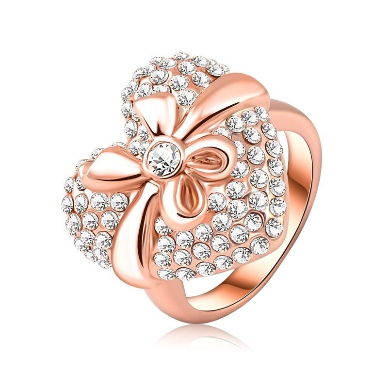 18kt Rose Gold Crystal Bow Heart Ring-Size 6-Daily Steals