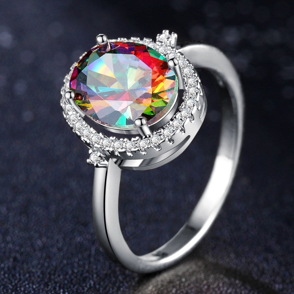 18kt White Gold or Rose Gold Gemstone Rainbow Ring-White-6-Daily Steals