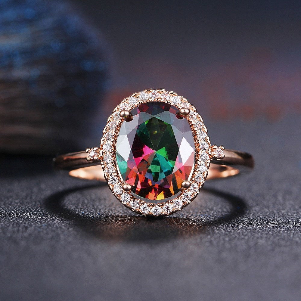 18kt White Gold or Rose Gold Gemstone Rainbow Ring-Daily Steals