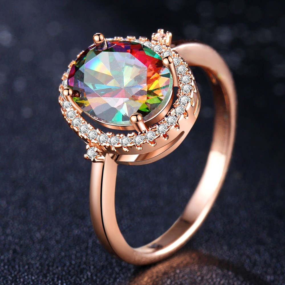 18kt White Gold or Rose Gold Gemstone Rainbow Ring-Rose-6-Daily Steals