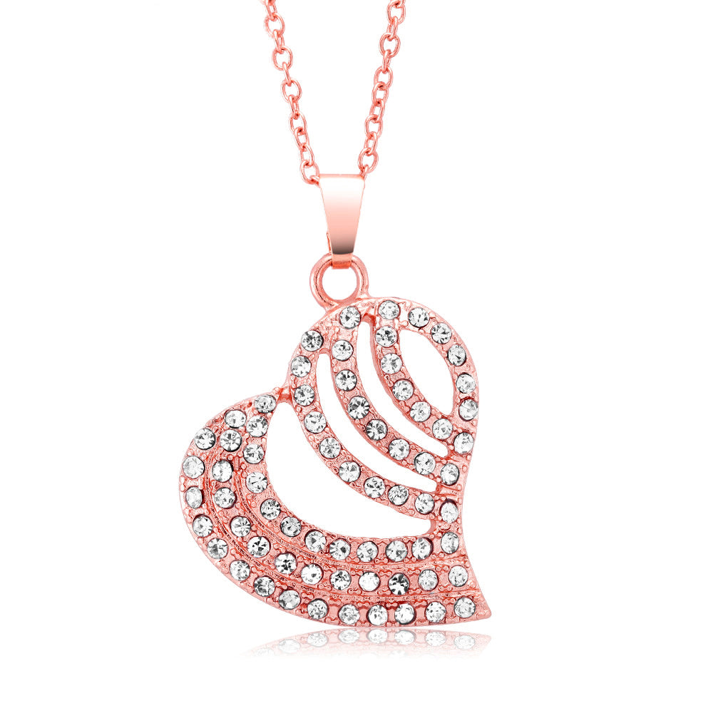 Crystal Gold Striped Heart Necklace-Rose-Daily Steals