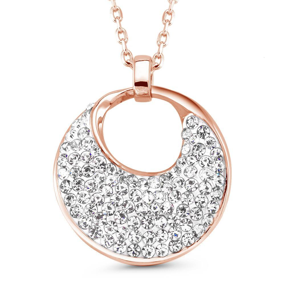 update alt-text with template Daily Steals-Crystal Round Drop Necklace-Jewelry-Rose-