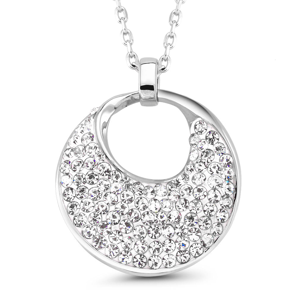 update alt-text with template Daily Steals-Crystal Round Drop Necklace-Jewelry-White-