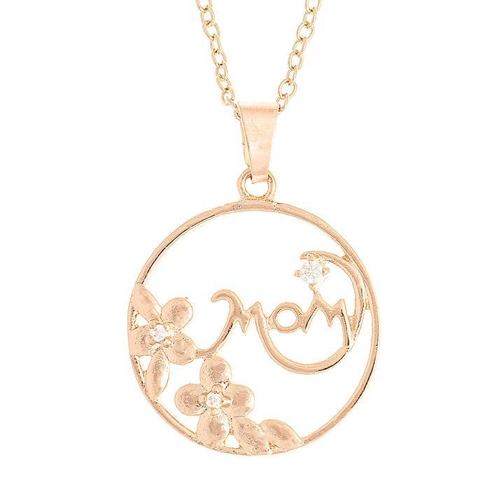 18KT Rose Gold Plated Mom Necklaces-Round-Daily Steals