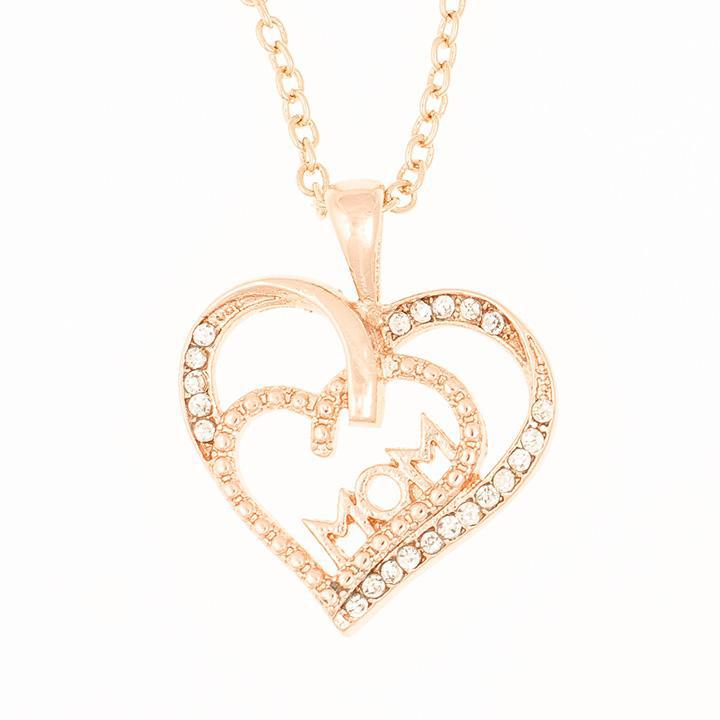 18KT Rose Gold Plated Mom Necklaces-Heart-Daily Steals