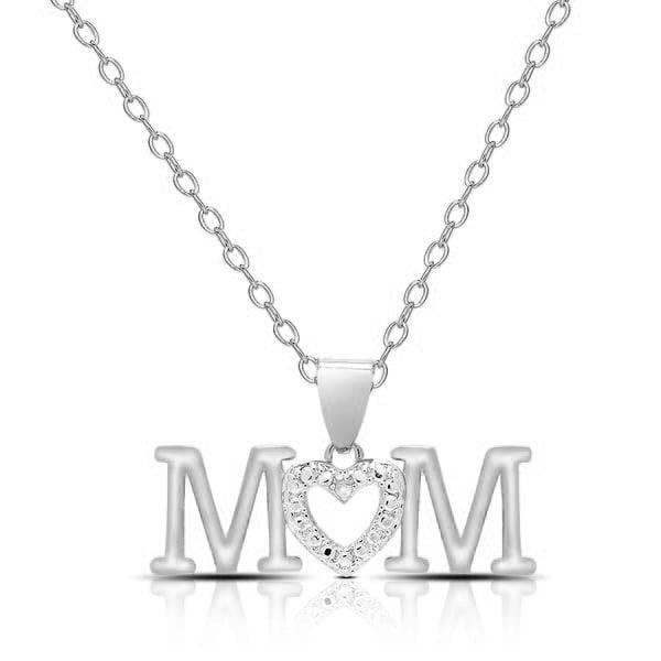 Mom Simulated Diamond Drop Necklace-White-Daily Steals