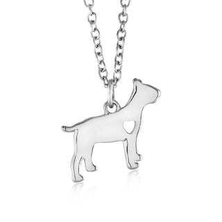 18kt Heart Dog Drop Necklace