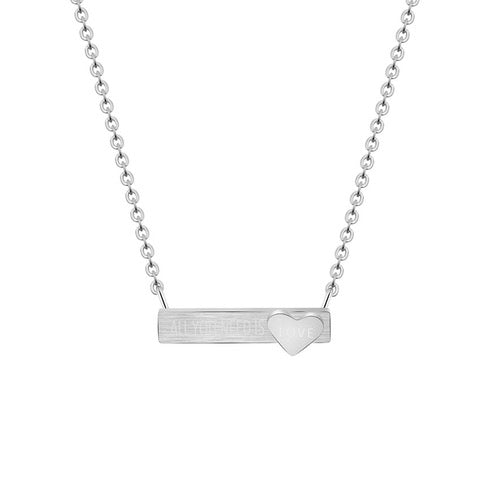 "All You Need Is Love Bar 18"" Necklace-White-Daily Steals"