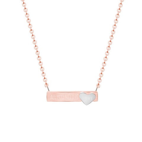 "All You Need Is Love Bar 18"" Necklace-Rose-Daily Steals"