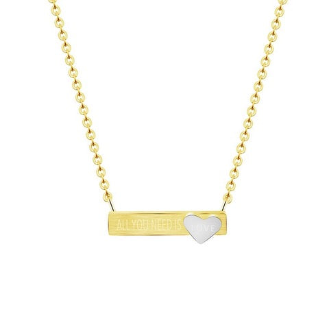"All You Need Is Love Bar 18"" Necklace-Yellow-Daily Steals"