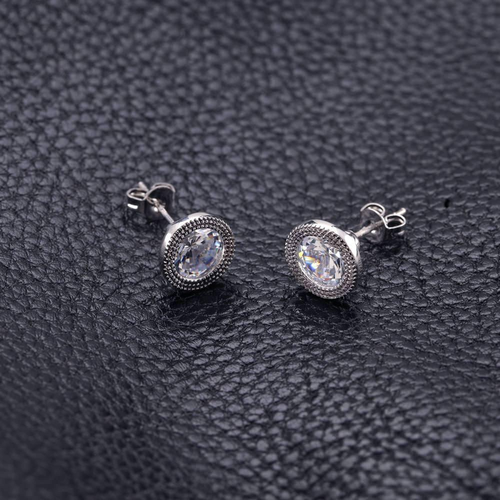 Fancy Stud Round Cubic Zirconia Earrings-Daily Steals