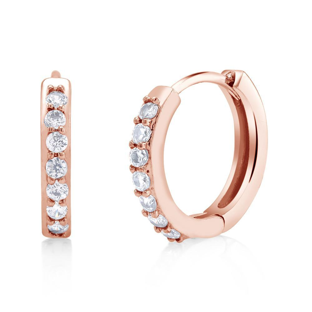 18kt Gold Plated Huggie Cubic Zirconia Earrings-Rose Gold-Daily Steals