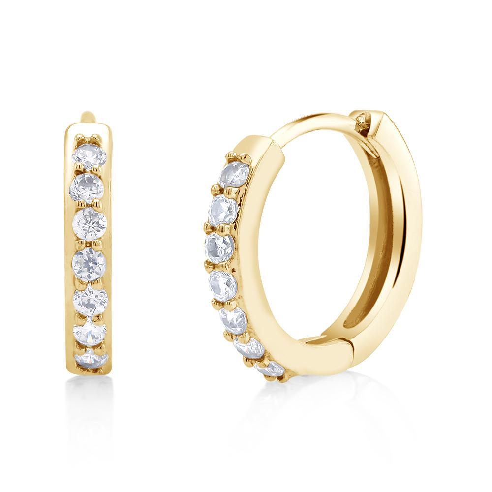 18kt Gold Plated Huggie Cubuc Zirconia Earrings