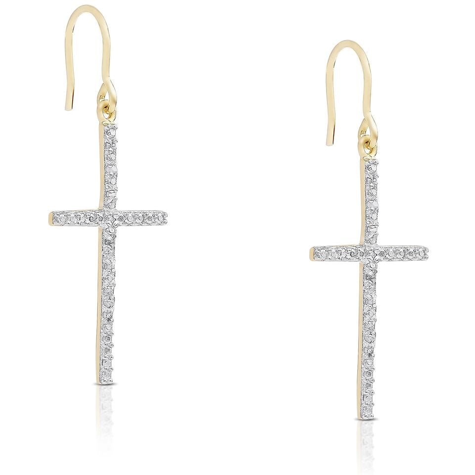 Crystal Cross Drop Earrings-Daily Steals