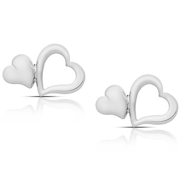 Double Heart Stud Earrings-White-Daily Steals