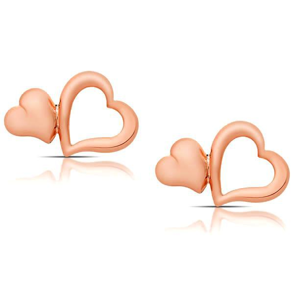Double Heart Stud Earrings-Rose-Daily Steals