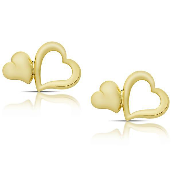 Double Heart Stud Earrings-Yellow-Daily Steals