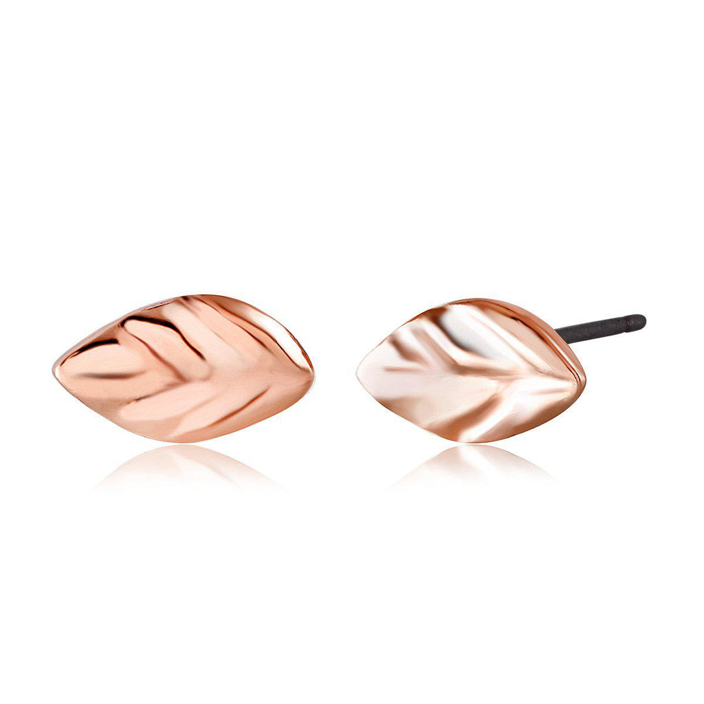 Daily Steals-Gold Plated Leaf Stud Earrings-Jewelry-Rose-