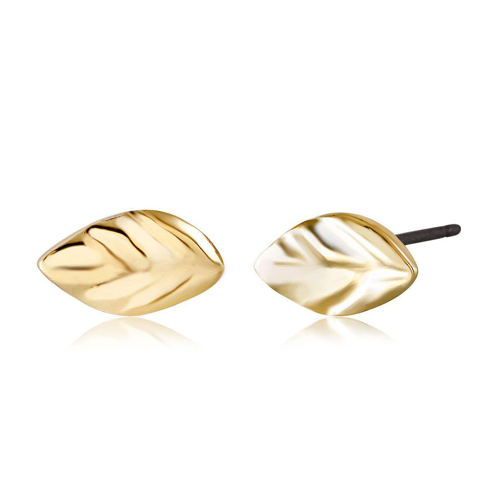 Daily Steals-Gold Plated Leaf Stud Earrings-Jewelry-Yellow-