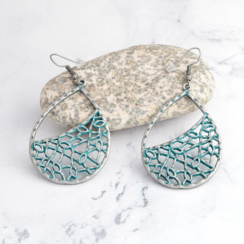 Pear Shaped Mesh Drop Earrings-White-Daily Steals