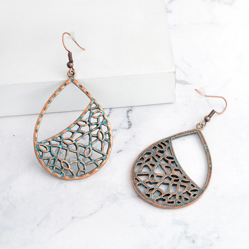 Pear Shaped Mesh Drop Earrings-Rose-Daily Steals