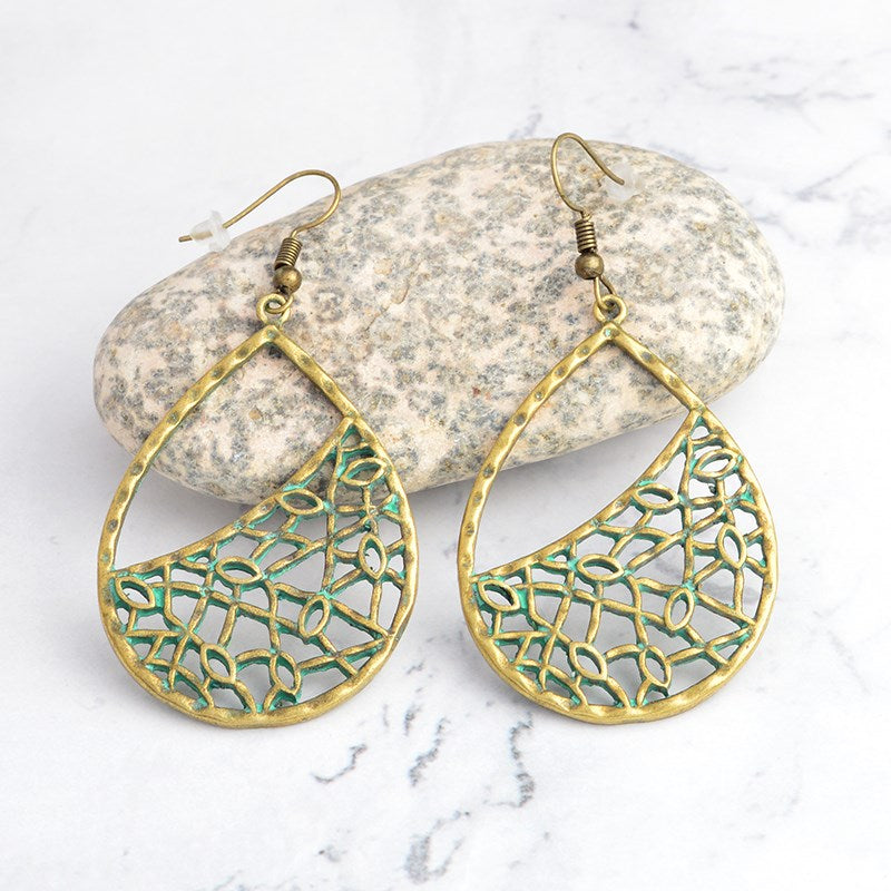 Pear Shaped Mesh Drop Earrings-Yellow-Daily Steals