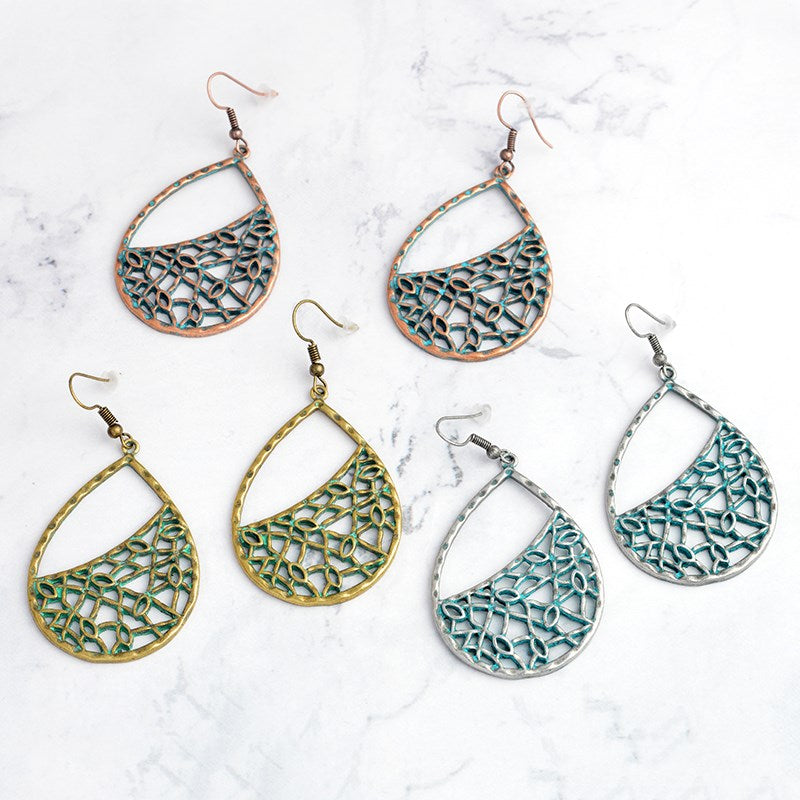 Pear Shaped Mesh Drop Earrings-Daily Steals