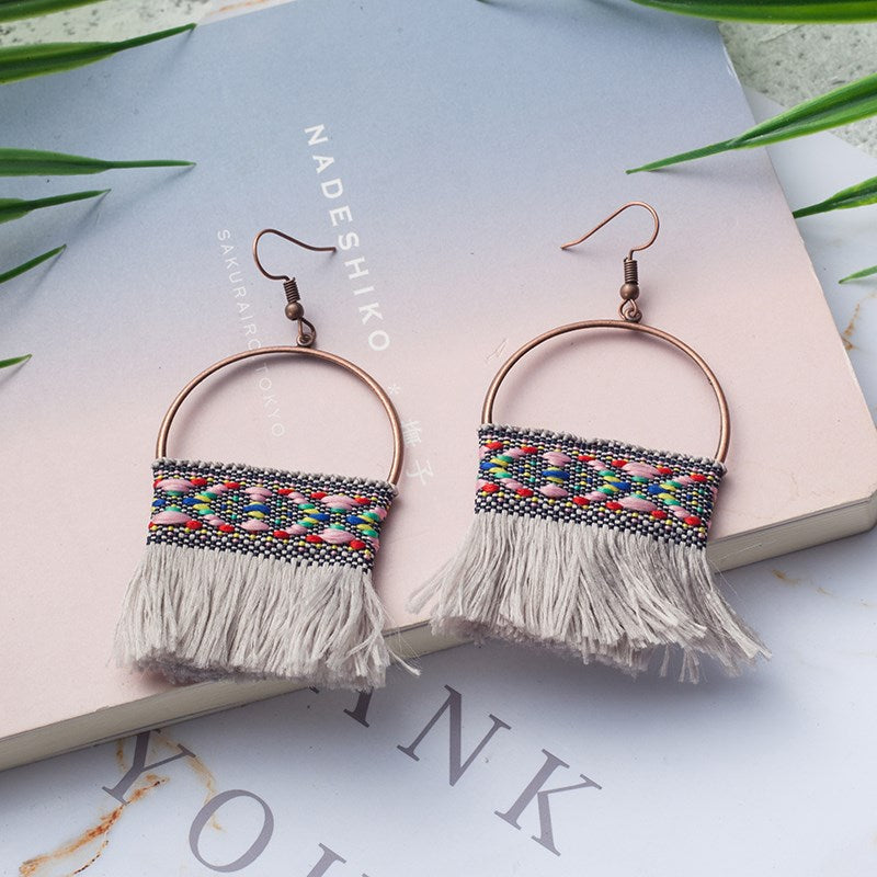 Knitted Tassel Drop Earrings-Grey-Daily Steals