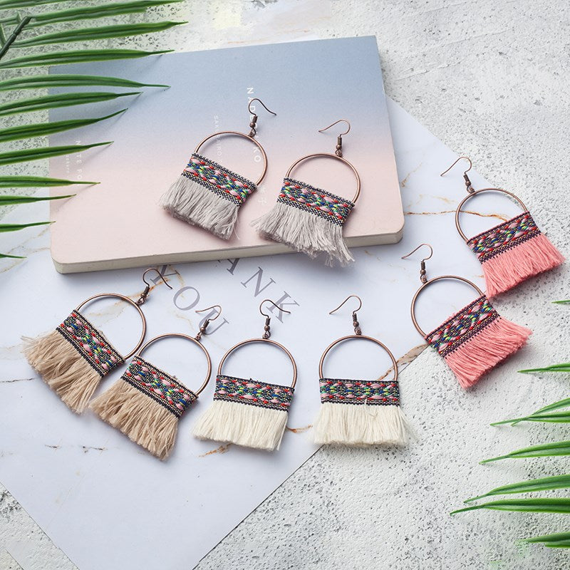 Knitted Tassel Drop Earrings-Daily Steals