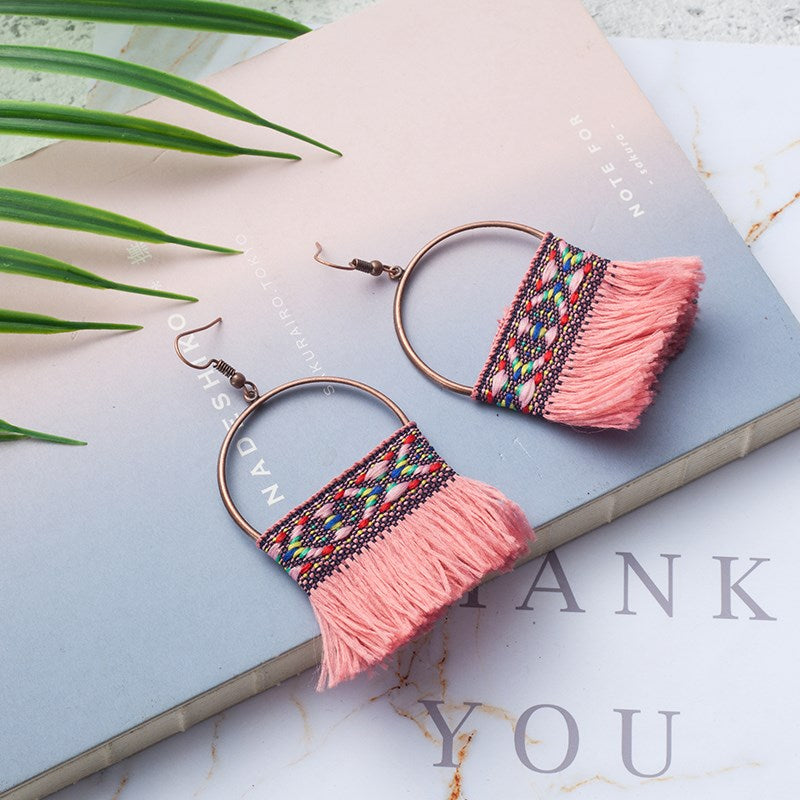 Knitted Tassel Drop Earrings-Pink-Daily Steals