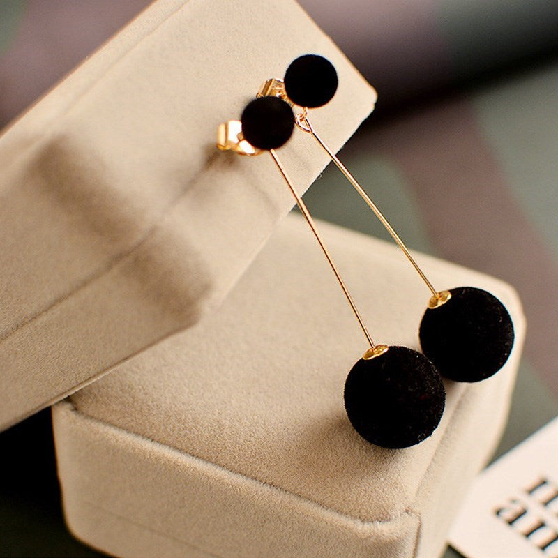Pom Pom Drop Earrings-Black-Daily Steals