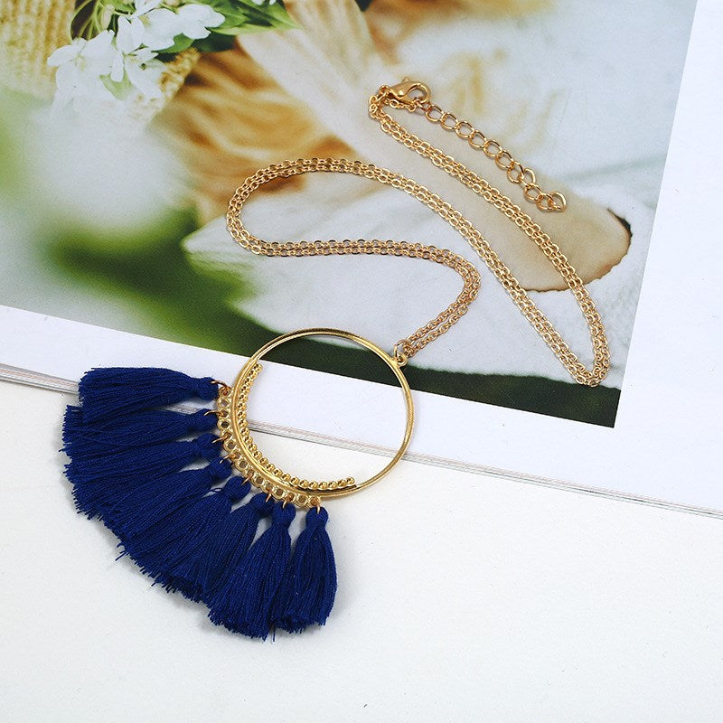 Collier goutte à pampilles plaqué or jaune 18 carats-Navy-Daily Steals