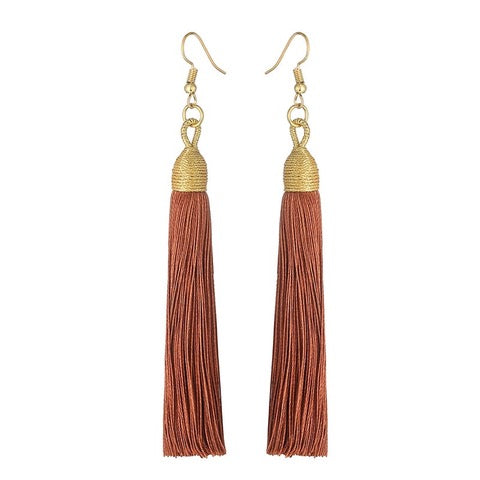 Boucles d'Oreilles Gland Long Drop - Marron - Daily Steals
