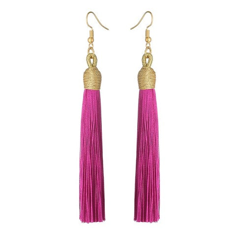 Long Pendant Tassel Earrings-Rose Foncé-Daily Steals
