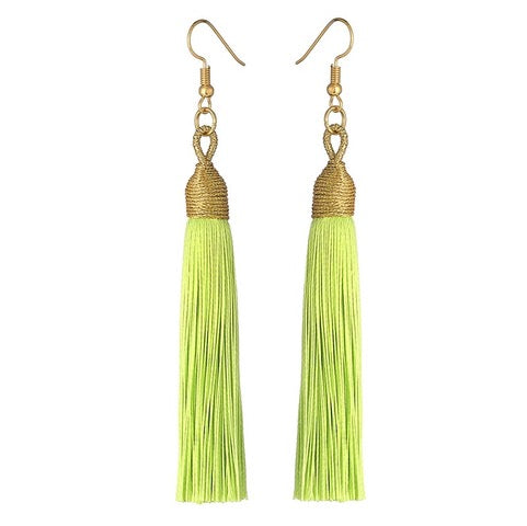 Long Drop Tassel Earrings-Lime-Daily Steals