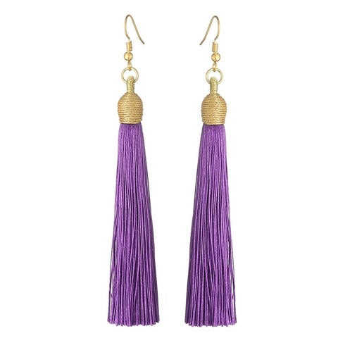 Long Pendant Tassel Earrings-Violet-Daily Steals