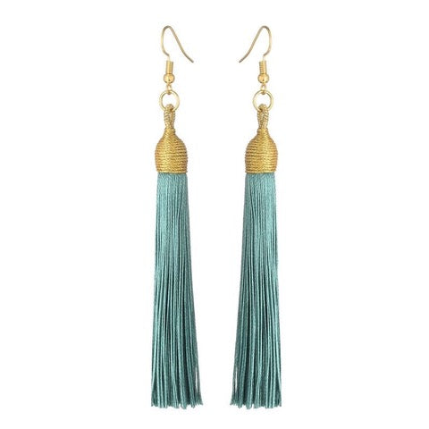 Long Drop Tassel Earrings-Shady Green-Daily Steals