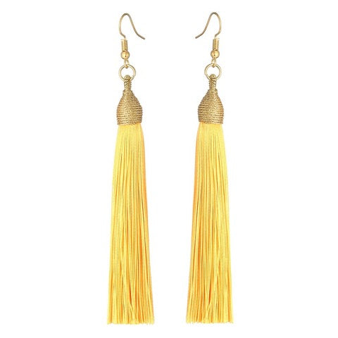 Long Drop Tassel Earrings-Jaune-Daily Steals