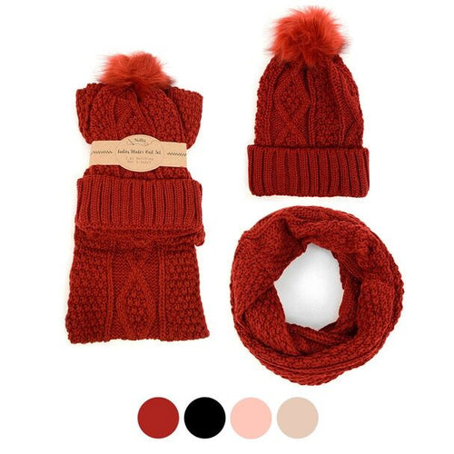 3a7638b193e1fe Daily Steals-Ladies Knit Hat & Infinity Scarf Winter Set-Women's  Apparel-Burgundy
