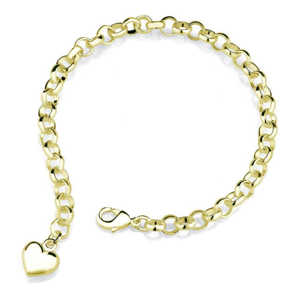 18k Yellow Gold Heart Charm Bracelet-Daily Steals