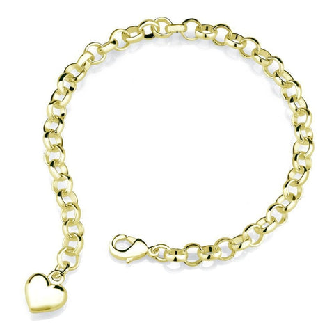 Daily Steals-18k Yellow Gold Heart Charm Bracelet-Jewelry-