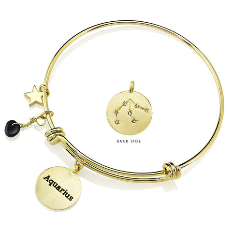 Daily Steals-Designer-Inspired Gold-Plated Horoscope and Constellation Bangle-Jewelry-Aquarius-