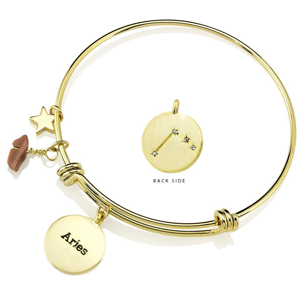 Daily Steals-Designer-Inspired Gold-Plated Horoscope and Constellation Bangle-Jewelry-Aries-