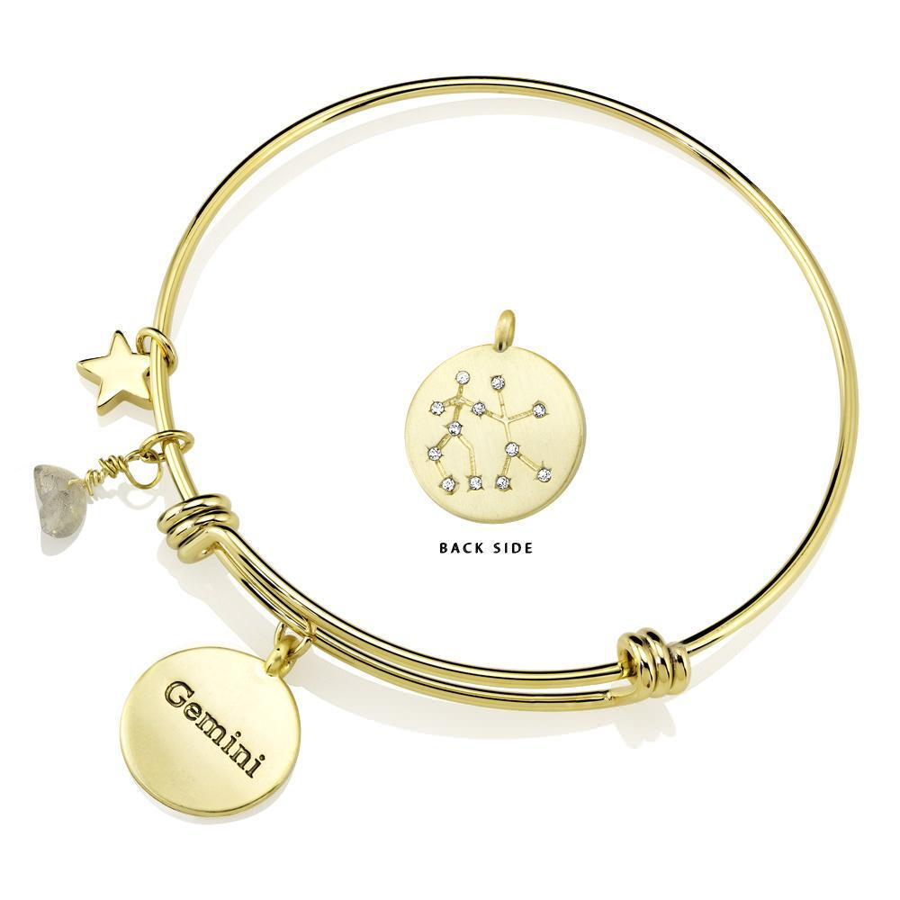 Daily Steals-Designer-Inspired Gold-Plated Horoscope and Constellation Bangle-Jewelry-Gemini-