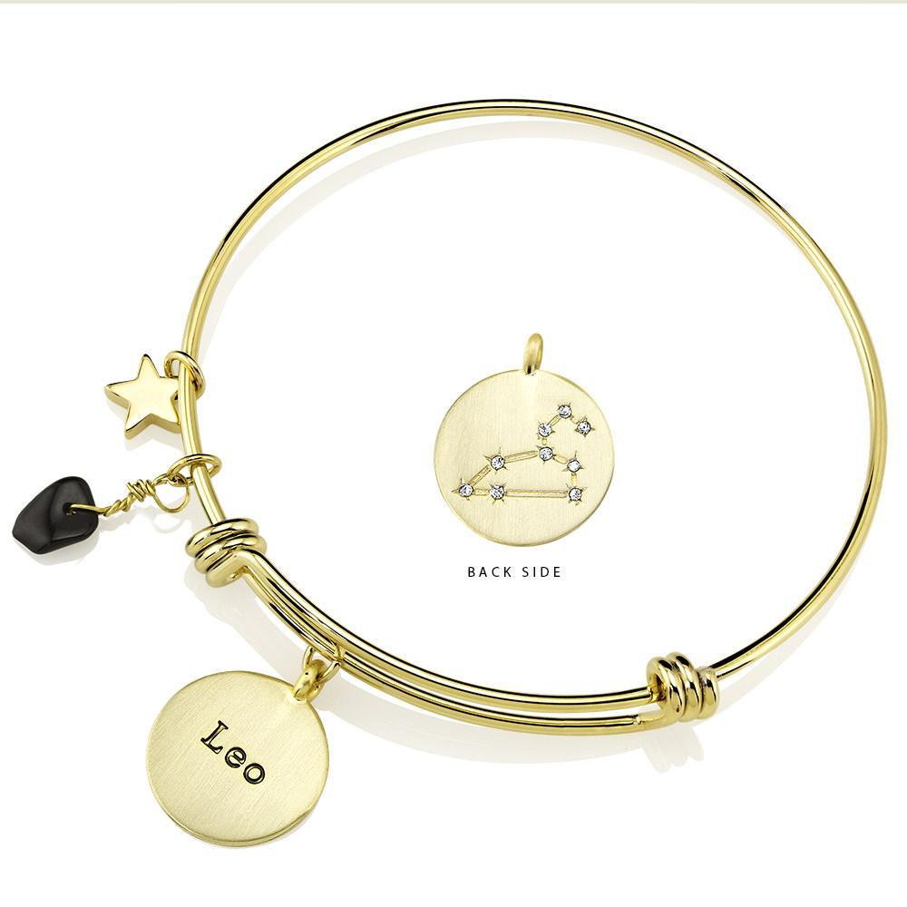 Designer-Inspired Gold-Plated Horoscope and Constellation Bangle-Leo-Daily Steals
