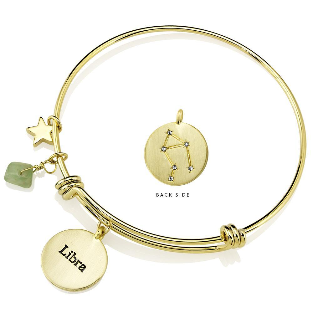 Daily Steals-Designer-Inspired Gold-Plated Horoscope and Constellation Bangle-Jewelry-Libra-