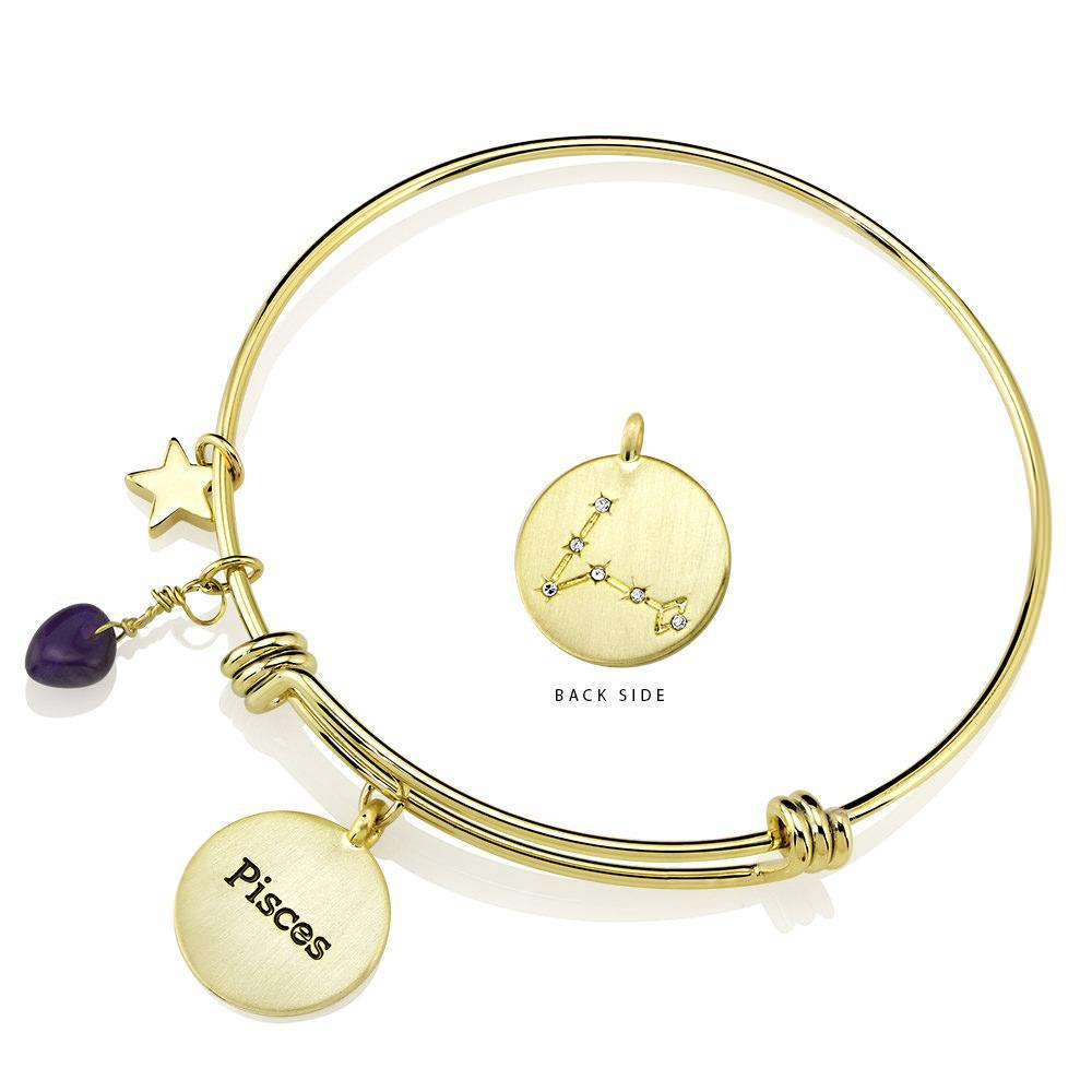 Daily Steals-Designer-Inspired Gold-Plated Horoscope and Constellation Bangle-Jewelry-Pisces-